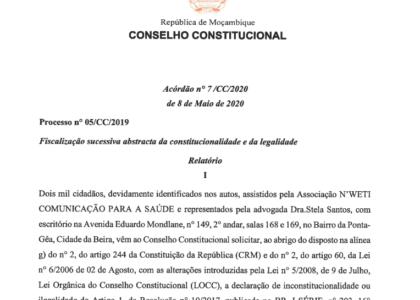 (Português) O Conselho Constitucional de Moçambique declarou nulo os actos inerentes ao empréstimo contraído pela Proindicus e MAM